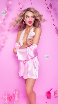 Lip Locked Satin Robe - Pink