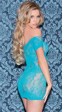 Seamless Single Sleeve Chemise Mini Dress - Turquoise