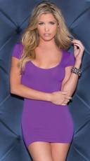 Shredded Back Cap Sleeve Mini Dress - Purple