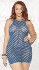 Plus Size Dancing Queen Chevron Chemise - Blue