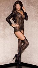 Pretty Patterned Garter Chemise - Black