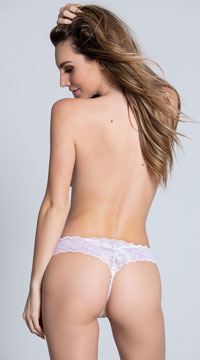 Cheeky Lace Pearl String G-String - White
