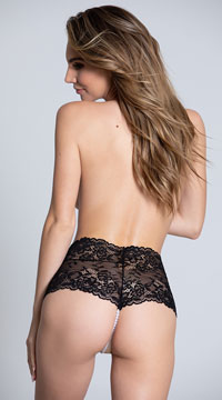 Cheeky Lace Pearl String Boyshort - Black