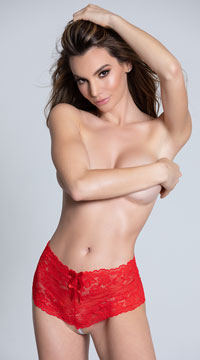 Cheeky Lace Pearl String Boyshort - Red