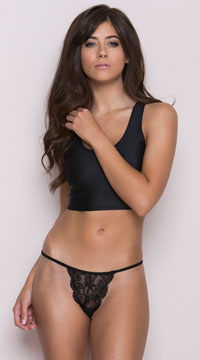 Scalloped Lace Thong - Black