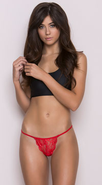 Scalloped Lace Thong - Red