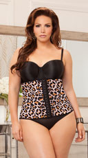 Plus Size Graduating Waist Trainer - Leopard