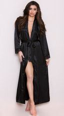Long Satin and Lace Trimmed Robe - Black