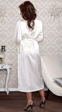 Long Satin and Lace Trimmed Robe - White