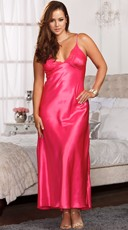 Plus Size Lace Trimmed Floor Length Satin Gown - Fuchsia