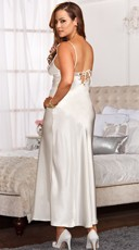 Plus Size Lace Trimmed Floor Length Satin Gown - White