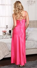 Lacy Floor Length Satin Gown - Fuchsia