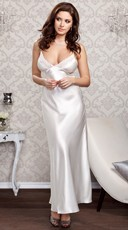 Lacy Floor Length Satin Gown - White
