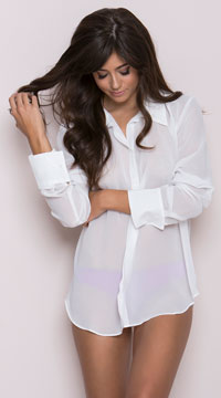 French Cuffed Sleep Shirt - White
