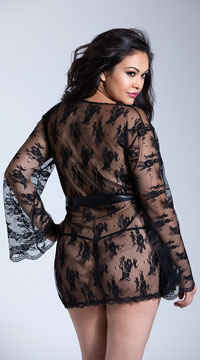 Plus Size Lace Robe with Butterfly Sleeves - Black