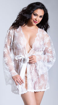 Plus Size Lace Robe with Butterfly Sleeves - White