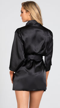 Lip Locked Satin Robe - Black