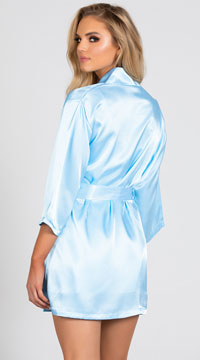 Lip Locked Satin Robe - Light Blue