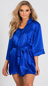 Lip Locked Satin Robe - Royal Blue