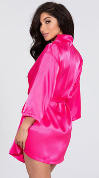 Lip Locked Satin Robe - Fuchsia