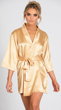 Lip Locked Satin Robe - Gold