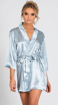 Lip Locked Satin Robe - Gray