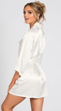 Lip Locked Satin Robe - Ivory