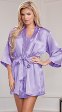 Lip Locked Satin Robe - Lavender