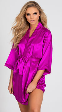 Lip Locked Satin Robe - Purple