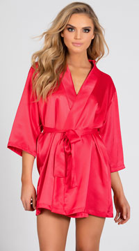 Lip Locked Satin Robe - Red