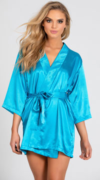 Lip Locked Satin Robe - Teal