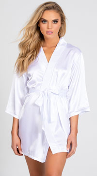 Lip Locked Satin Robe - White