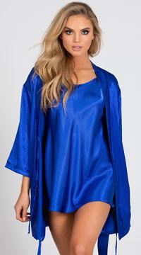 Sexy Satin Chemise - Royal Blue