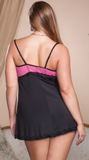 Plus Size Two Tone Lace Babydoll with G-String - Fuchsia