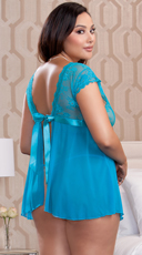 Plus Size Black Lace Cap Sleeve Babydoll - Teal