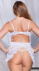 Plus Size White Lace Apron Babydoll - White
