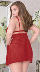 Plus Size Empire Waist Mesh Babydoll - Red