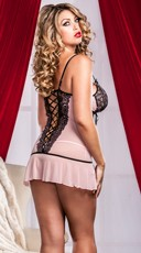 Cross-dye Lace And Flutter Hem Chemise And G-string - Pink