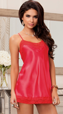 Satin And Floral Lace Chemise - Red