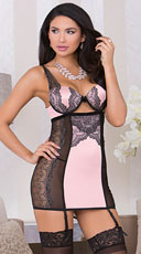 Romantic Garter Lace Chemise - Pink/Black