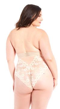 44760372eb1 ... Plus Size Fiona Fishnet Teddy - Peach ...