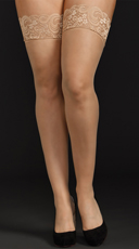 Plus Size Sheer Lace Top Thigh Highs - Nude