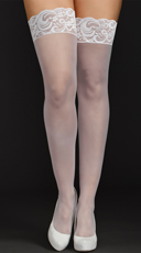 Plus Size Sheer Lace Top Thigh Highs - White