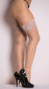 Sheer Lace Top Thigh Highs - Nude