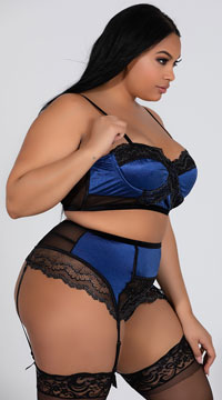 Plus Size Romantic High Waisted Lace Bra Set - Navy/Black