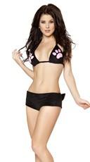 Black Cat Faux Fur Short and Top - Black