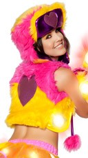Light-Up Faux Fur Heart Hat - Sunshine/Hot Pink