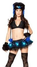 Light-Up Vinyl Skirt and Top - Black/Blue