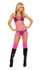 Net Tube Dress - Hot Pink