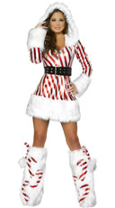 Candy Cane Hooded Dress - as shown
